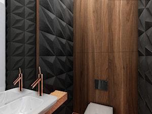 GEOMETRYCZNY DOM W GDYNI - Mała czarna brązowa łazienka, styl nowoczesny - zdjęcie od LESINSKA CONCEPT