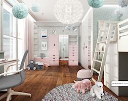 KAMIENICA NA KAMIENNEJ GÓRZE W GDYNI - Duży biały zielony pokój dziecka dla dziewczynki dla malucha, styl nowoczesny - zdjęcie od LESINSKA CONCEPT