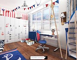 KAMIENICA NA KAMIENNEJ GÓRZE W GDYNI - Średni biały czerwony pokój dziecka dla chłopca dla ucznia dla malucha, styl nowoczesny - zdjęcie od LESINSKA CONCEPT