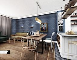 APARTAMENT ALTORIA - Średni czarny salon z kuchnią z jadalnią, styl nowoczesny - zdjęcie od LESINSKA CONCEPT