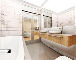 APARTAMENT ORŁOWO - Średnia biała szara łazienka na poddaszu w bloku w domu jednorodzinnym bez okna, styl tradycyjny - zdjęcie od LESINSKA CONCEPT