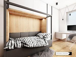 APARTAMENT W WARSZAWIE - Mały biały pokój dziecka dla ucznia dla nastolatka, styl skandynawski - zdjęcie od LESINSKA CONCEPT