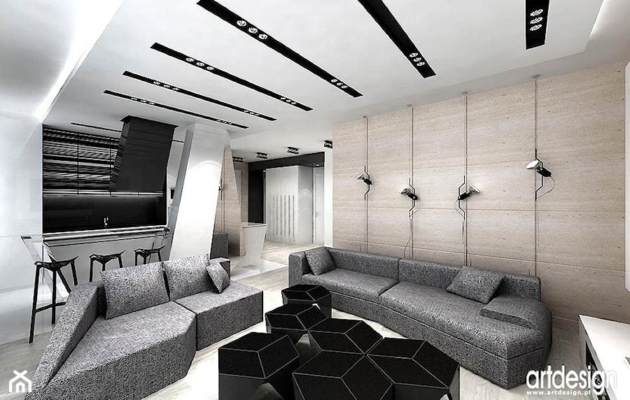 projekt pokoju dziennego z kuchnią - zdjęcie od ARTDESIGN architektura wnętrz - homebook