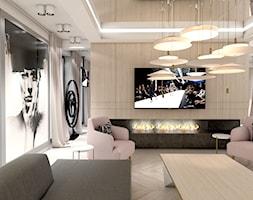 OVER THE MOON | I | Wnętrza domu - Duży biały salon z jadalnią, styl nowoczesny - zdjęcie od ARTDESIGN architektura wnętrz
