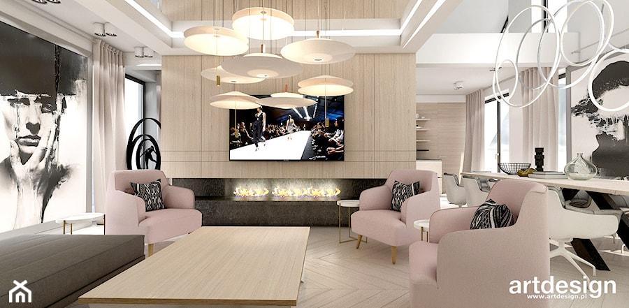 OVER THE MOON | I | Wnętrza domu - Średni biały salon z jadalnią, styl nowoczesny - zdjęcie od ARTDESIGN architektura wnętrz