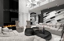 Zdjęcie: projekt luksusowego salonu z kominkiem