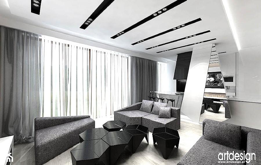 projekt pokoju dziennego w nowoczesnym mieszkaniu - zdjęcie od ARTDESIGN architektura wnętrz ...