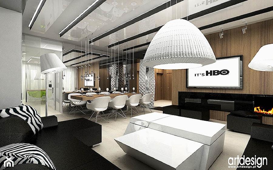 aran acja salonu w nowoczesneym mieszkaniu zdj cie od artdesign architektura wn trz homebook. Black Bedroom Furniture Sets. Home Design Ideas