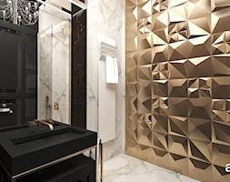 TAKE THE BULL BY THE HORNS | Wnętrza apartamentu - Mała biała łazienka na poddaszu w bloku w domu jednorodzinnym bez okna, styl eklektyczny - zdjęcie od ARTDESIGN architektura wnętrz