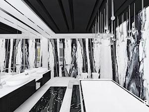 AT THE DROP OF A HAT   Wnętrza domu - Duża biała czarna łazienka na poddaszu w bloku w domu jednorodzinnym z oknem, styl nowoczesny - zdjęcie od ARTDESIGN architektura wnętrz