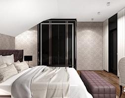 PEARL OF WISDOM | Wnętrza domu - Duża biała czarna sypialnia małżeńska na poddaszu, styl klasyczny - zdjęcie od ARTDESIGN architektura wnętrz