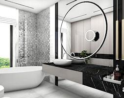 IT IS LIKE OXYGEN | II | Wnętrza domu - Średnia beżowa czarna łazienka w bloku w domu jednorodzinnym bez okna, styl nowoczesny - zdjęcie od ARTDESIGN architektura wnętrz