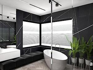 LIKE A DUCK TO WATER   II   Wnętrza domu - Średnia czarna łazienka na poddaszu w bloku w domu jednorodzinnym z oknem, styl nowoczesny - zdjęcie od ARTDESIGN architektura wnętrz