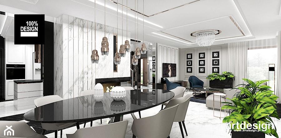 PEARL OF WISDOM | Wnętrza domu - Duża otwarta szara jadalnia w salonie, styl eklektyczny - zdjęcie od ARTDESIGN architektura wnętrz