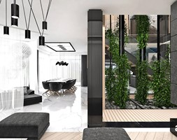 BIRD'S EYE VIEW | I | Wnętrza domu - Średni salon z jadalnią, styl nowoczesny - zdjęcie od ARTDESIGN architektura wnętrz