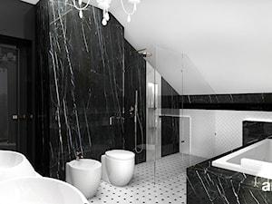 PEARL OF WISDOM | Wnętrza domu - Średnia czarna szara łazienka na poddaszu w domu jednorodzinnym bez okna, styl klasyczny - zdjęcie od ARTDESIGN architektura wnętrz