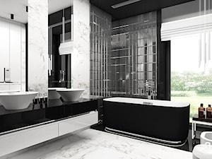 LISTEN TO MY HEARTBEAT | II | Wnętrza domu - Duża biała czarna łazienka w domu jednorodzinnym z oknem, styl nowoczesny - zdjęcie od ARTDESIGN architektura wnętrz