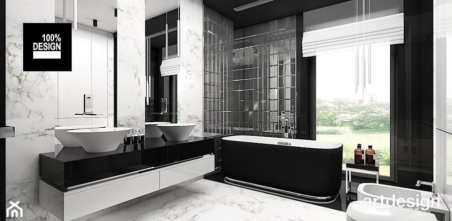 LISTEN TO MY HEARTBEAT   II   Wnętrza domu - Duża biała czarna łazienka w domu jednorodzinnym z oknem, styl nowoczesny - zdjęcie od ARTDESIGN architektura wnętrz
