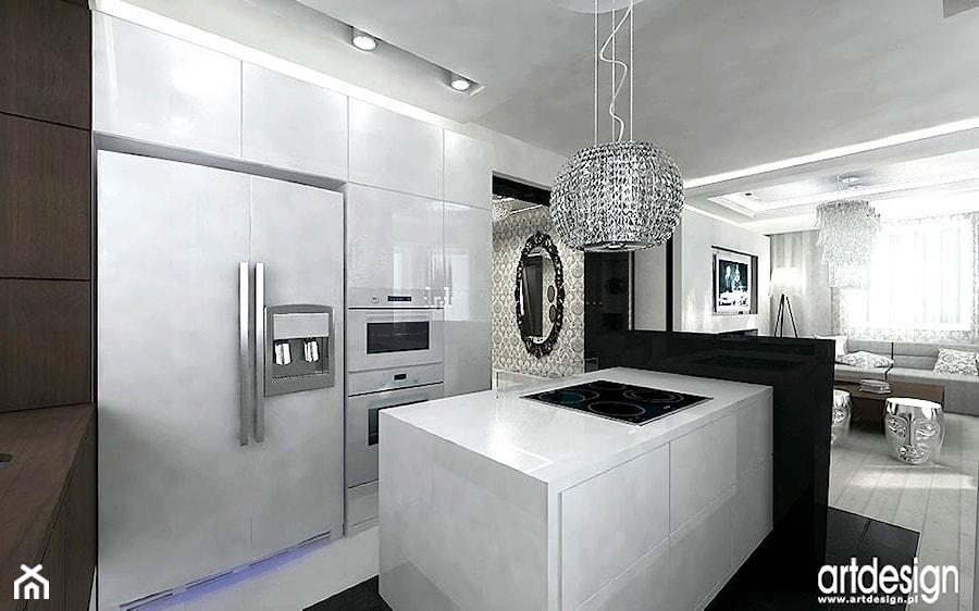 kuchnia w kolorze białym czarnym  zdjęcie od ARTDESIGN architektura wnętrz -> Kuchnia Art Design