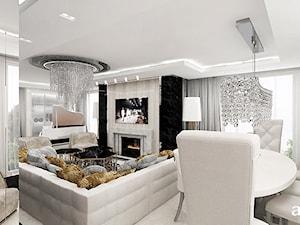 FEMME FATALE | I | Wnętrza apartamentu - Średni biały salon z jadalnią, styl glamour - zdjęcie od ARTDESIGN architektura wnętrz
