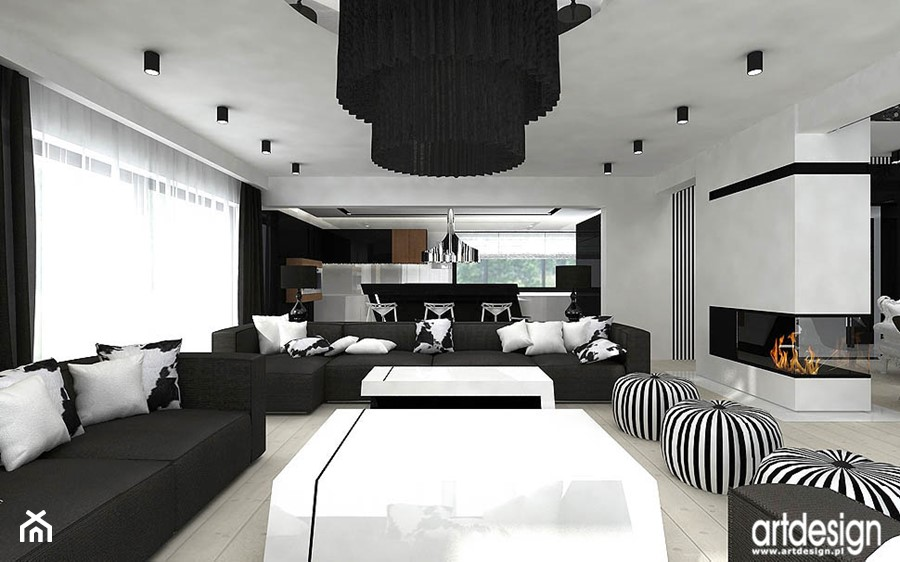salon z kominkiem - projekt - zdjęcie od ARTDESIGN architektura wnętrz - homebook