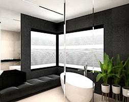 MAKE IT HAPPEN | II | Wnętrza domu - Średnia beżowa czarna łazienka w domu jednorodzinnym jako salon kąpielowy z oknem, styl minimalistyczny - zdjęcie od ARTDESIGN architektura wnętrz