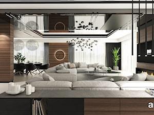nowoczesny salon z fornirowanymi zabudowami meblowymi - zdjęcie od ARTDESIGN architektura wnętrz