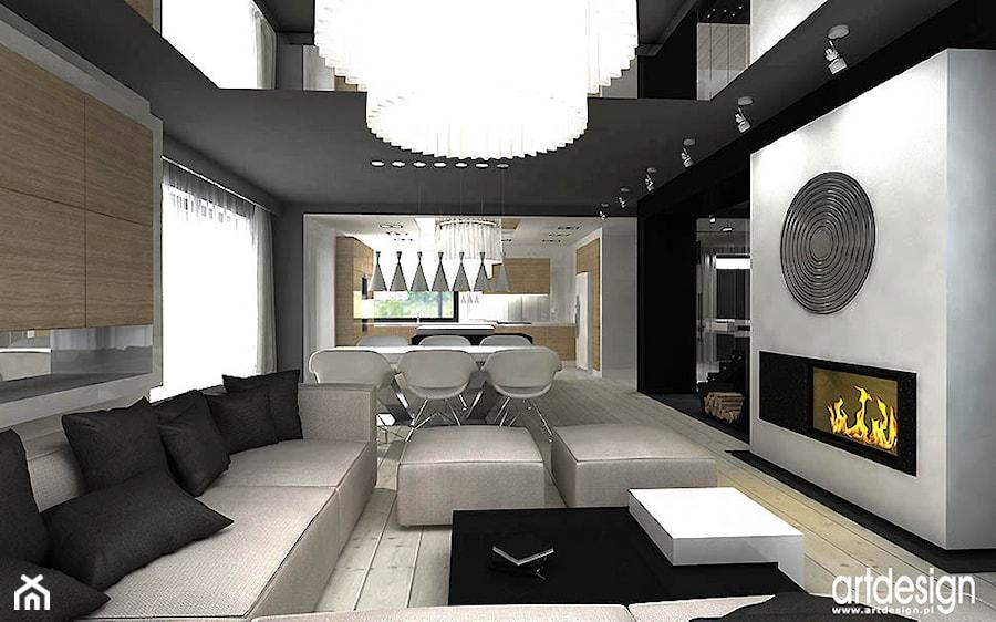 projekt wnętrz nowoczesnego salonu - zdjęcie od ARTDESIGN architektura wnętrz