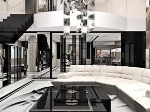 A BREATH OF FRESH AIR | I | Wnętrza domu - Duży biały czarny salon z antresolą, styl nowoczesny - zdjęcie od ARTDESIGN architektura wnętrz