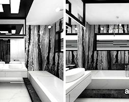 LITTLE BY LITTLE | II | Wnętrza domu - Średnia czarna szara łazienka w bloku w domu jednorodzinnym z oknem, styl nowoczesny - zdjęcie od ARTDESIGN architektura wnętrz