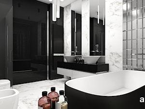 LISTEN TO MY HEARTBEAT | II | Wnętrza domu - Duża czarna szara łazienka w bloku w domu jednorodzinnym bez okna, styl nowoczesny - zdjęcie od ARTDESIGN architektura wnętrz