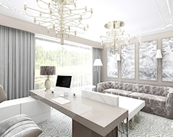 SOTTO VOCE | II | Wnętrza domu - Średnie beżowe brązowe biuro domowe w pokoju, styl glamour - zdjęcie od ARTDESIGN architektura wnętrz
