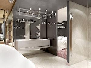 OVER THE MOON | III | Wnętrza domu - Duża czarna szara łazienka na poddaszu w bloku w domu jednorodzinnym bez okna, styl nowoczesny - zdjęcie od ARTDESIGN architektura wnętrz