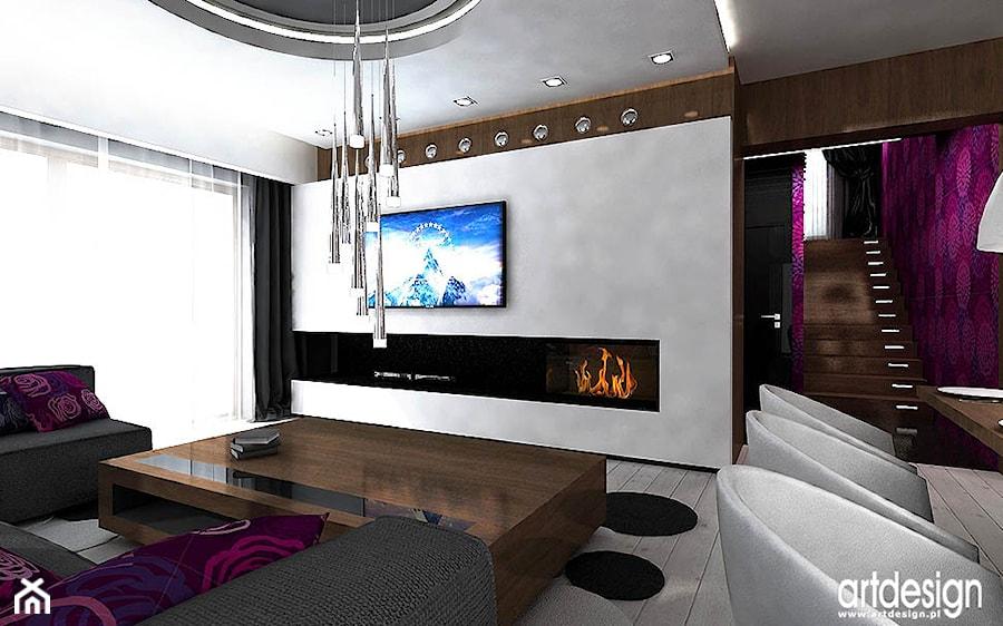 aranżacja salonu z kominkiem - zdjęcie od ARTDESIGN architektura wnętrz