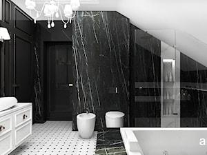 PEARL OF WISDOM | Wnętrza domu - Duża czarna łazienka na poddaszu w domu jednorodzinnym bez okna, styl klasyczny - zdjęcie od ARTDESIGN architektura wnętrz
