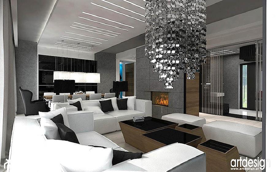 nowoczesny salon z kominkiem - zdjęcie od ARTDESIGN architektura wnętrz - homebook