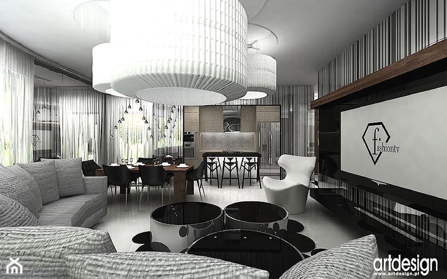 luksusowy pokój dzienny w apartamencie - aranżacja - zdjęcie od ARTDESIGN architektura wnętrz