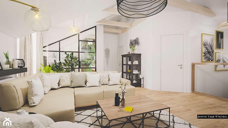 Elegancki salon boho industrialny - zdjęcie od JedyneTakieWnętrza