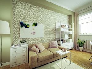 Romantyczny salon z kuchnią z akcentami glamour - Średnie zielone białe biuro domowe kącik do pracy w pokoju, styl nowojorski - zdjęcie od JedyneTakieWnętrza