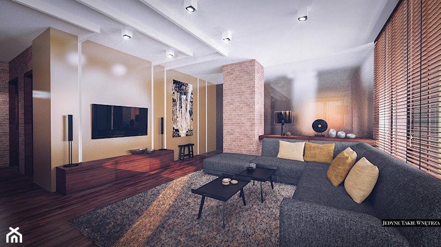 Aranżacje wnętrz - Salon: Loftowa elegancja projekt wnętrza apartamentu - Salon, styl nowojorski - JedyneTakieWnętrza. Przeglądaj, dodawaj i zapisuj najlepsze zdjęcia, pomysły i inspiracje designerskie. W bazie mamy już prawie milion fotografii!
