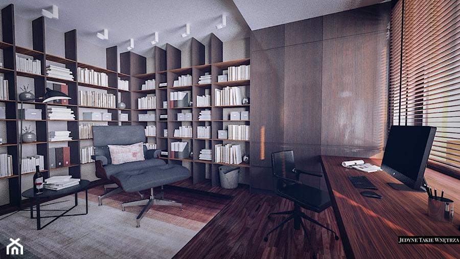 Loftowa elegancja projekt wnętrza apartamentu - Średnie beżowe biuro domowe kącik do pracy w pokoju, styl nowojorski - zdjęcie od JedyneTakieWnętrza