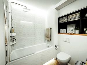 Skandynawska aranżacja mieszkania Gdańsk - Średnia biała łazienka bez okna, styl skandynawski - zdjęcie od JedyneTakieWnętrza