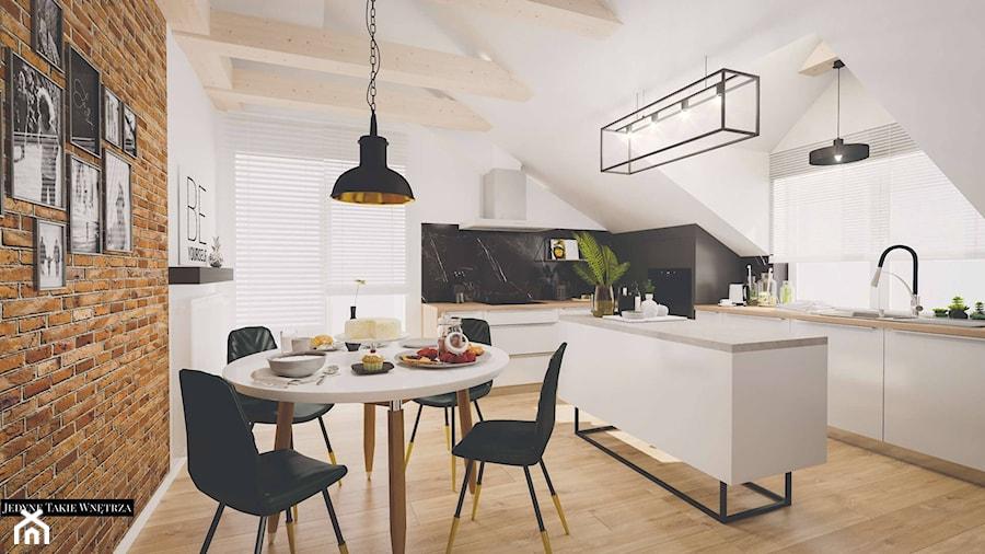 Nowoczesna kuchnia z marmurem na poddaszu - zdjęcie od JedyneTakieWnętrza