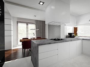 Nowoczesna elegancja - projekt wnętrza domu Warszawa - Średnia otwarta biała kuchnia w kształcie litery l z oknem, styl nowoczesny - zdjęcie od JedyneTakieWnętrza