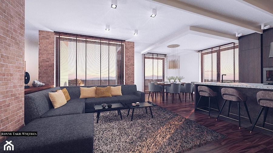 Loftowa elegancja projekt wnętrza apartamentu - Salon, styl nowojorski - zdjęcie od JedyneTakieWnętrza