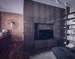 Loftowa elegancja projekt wnętrza apartamentu - Średnie beżowe szare biuro w pokoju, styl nowojorski - zdjęcie od JedyneTakieWnętrza