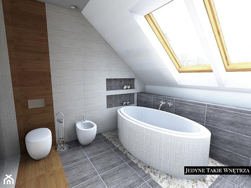 łazienka Z Sypialnią Na Poddaszu średnia Beżowa Brązowa