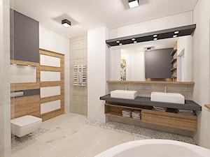 Przykładowe projekty - Średnia biała beżowa łazienka, styl nowoczesny - zdjęcie od 4Uprojekt- Projekty wnętrz