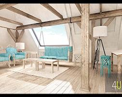 Duże białe biuro pracownia kącik do pracy na poddaszu, styl tradycyjny - zdjęcie od 4Uprojekt- Projekty wnętrz