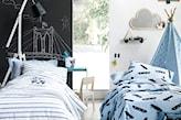 farba tablicowa w pokoju dziecka, biała lampa podłogowa, biała pościel w niebieskie pasy